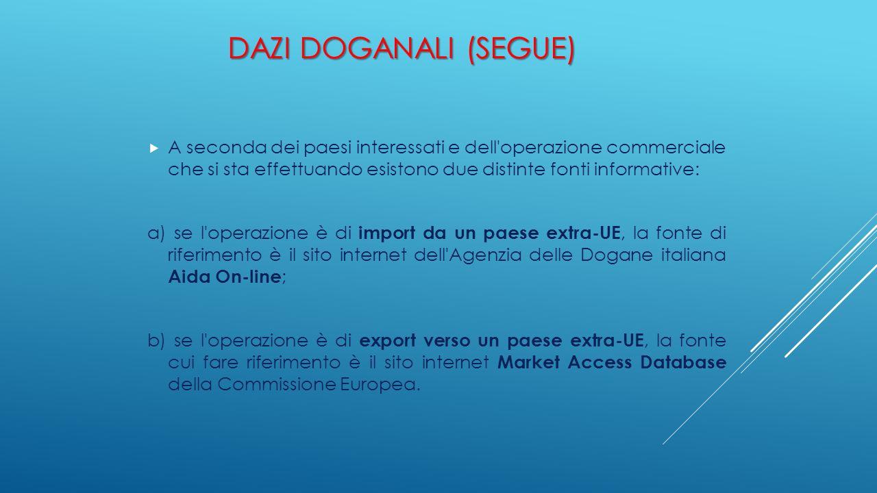 DAZI DOGANALI (SEGUE)  A seconda dei paesi interessati e dell'operazione commerciale che si sta effettuando esistono due distinte fonti informative: