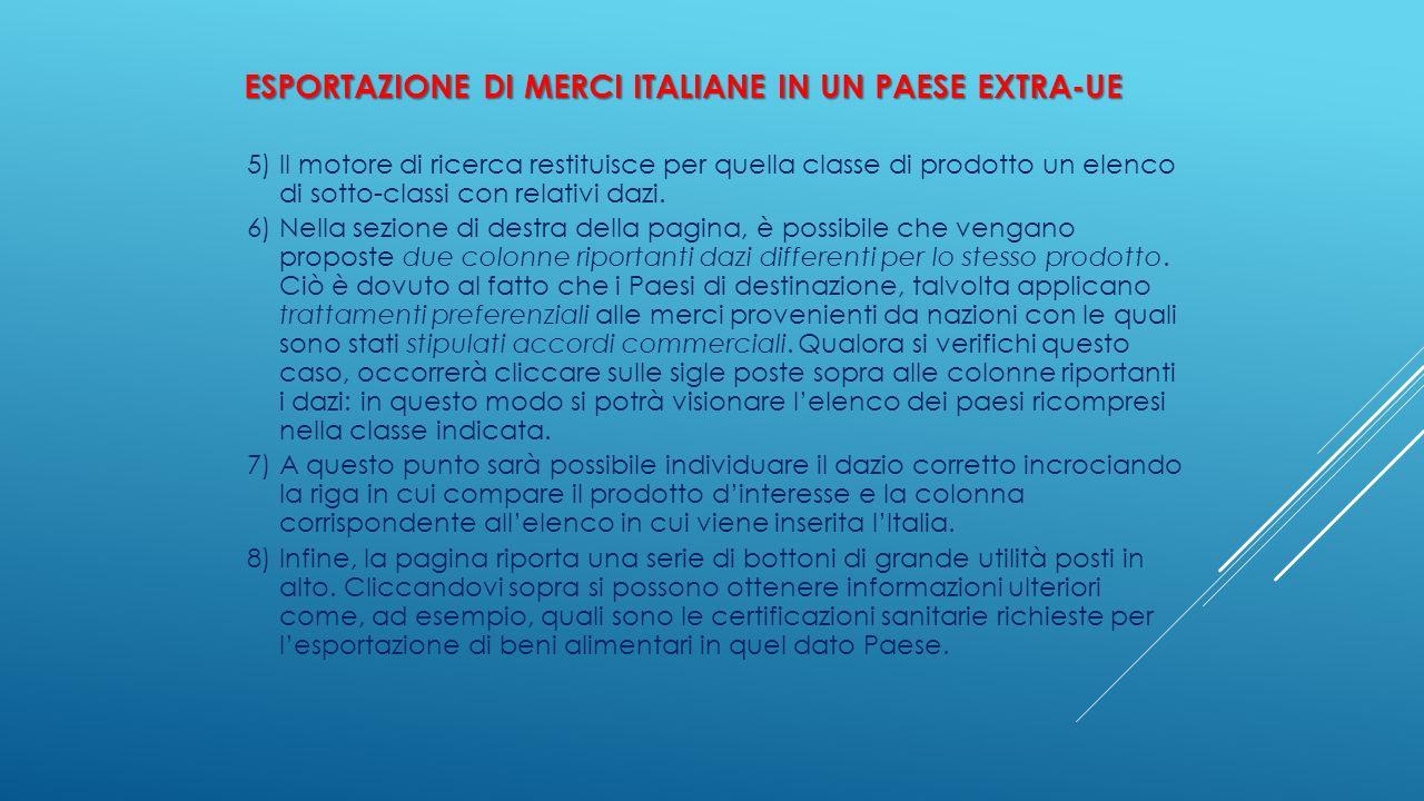 ESPORTAZIONE DI MERCI ITALIANE IN UN PAESE EXTRA-UE 5) Il motore di ricerca restituisce per quella classe di prodotto un elenco di sotto-classi con re