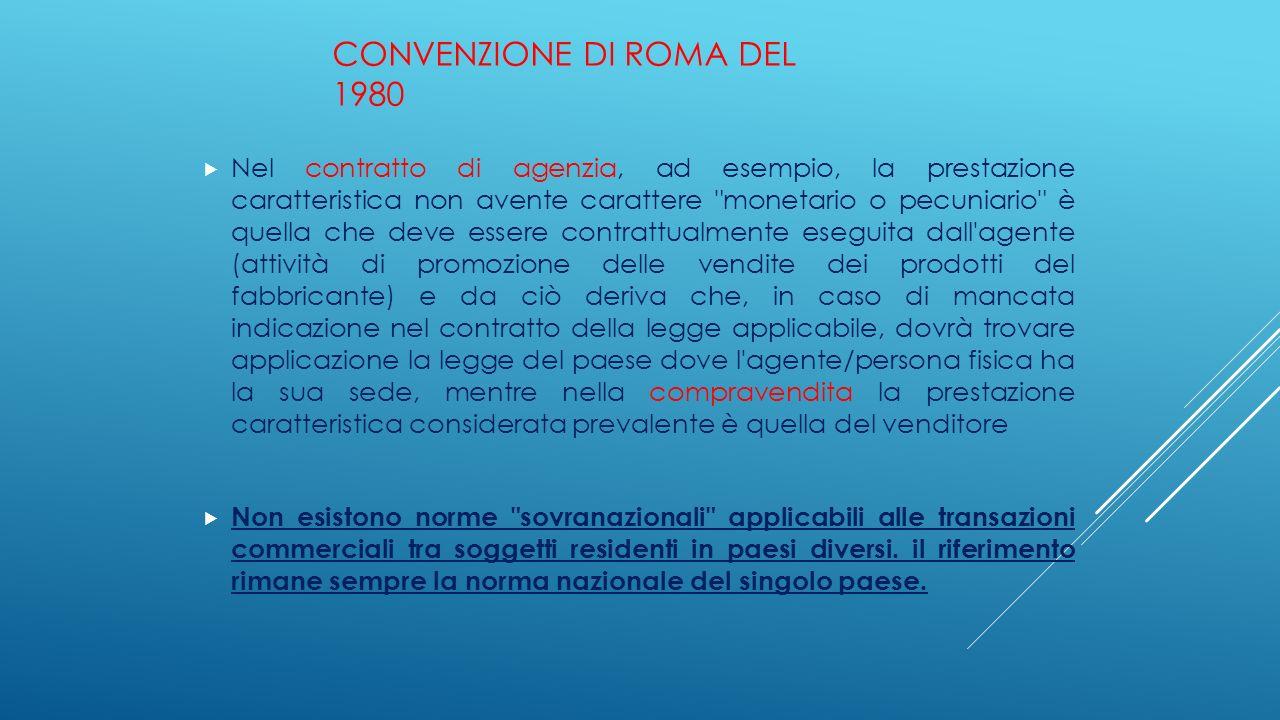 CONVENZIONE DI ROMA DEL 1980  Nel contratto di agenzia, ad esempio, la prestazione caratteristica non avente carattere