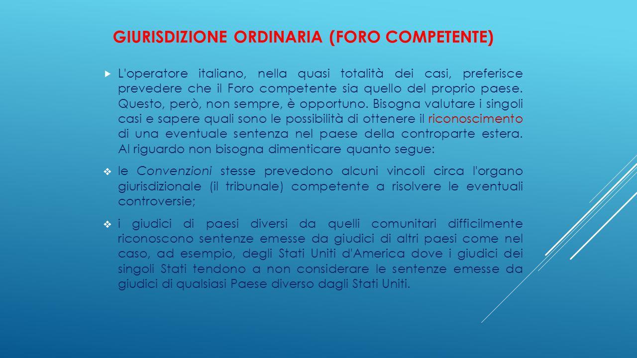 GIURISDIZIONE ORDINARIA (FORO COMPETENTE)  L'operatore italiano, nella quasi totalità dei casi, preferisce prevedere che il Foro competente sia quell