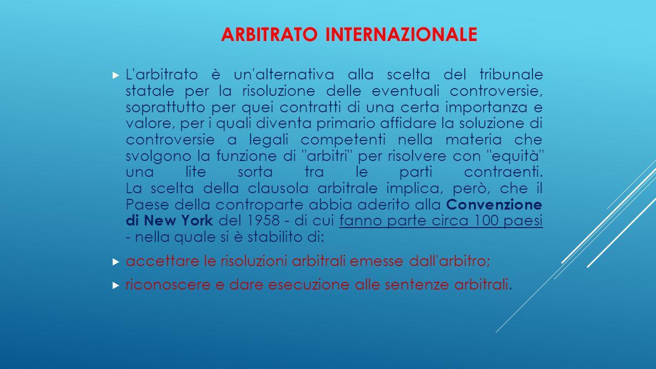 ARBITRATO INTERNAZIONALE  L'arbitrato è un'alternativa alla scelta del tribunale statale per la risoluzione delle eventuali controversie, soprattutto