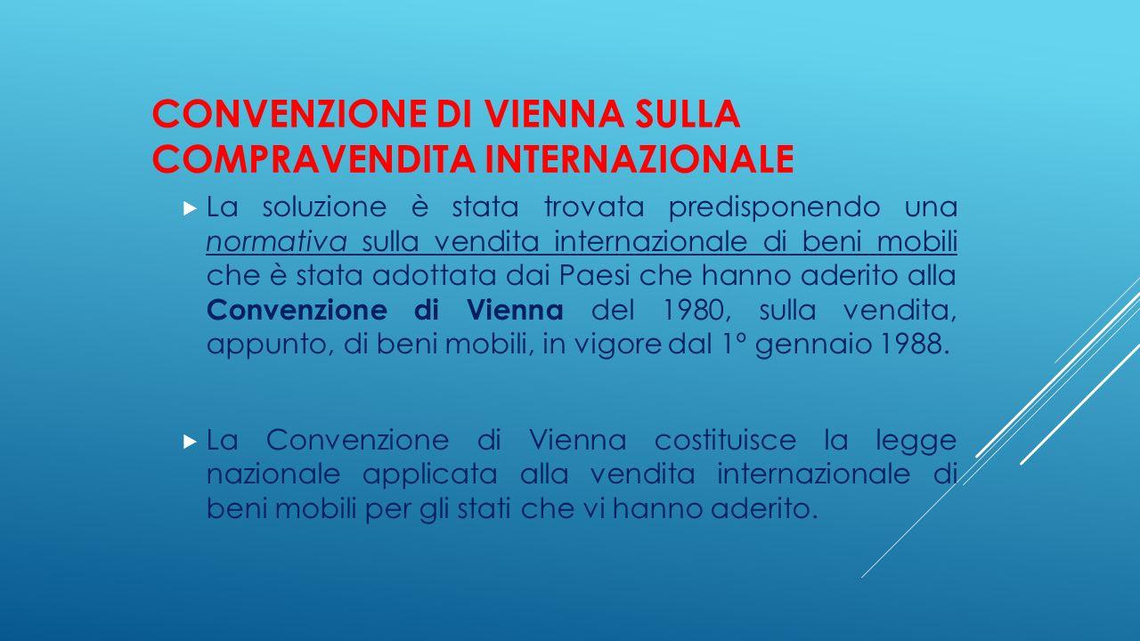 CONVENZIONE DI VIENNA SULLA COMPRAVENDITA INTERNAZIONALE  La soluzione è stata trovata predisponendo una normativa sulla vendita internazionale di be