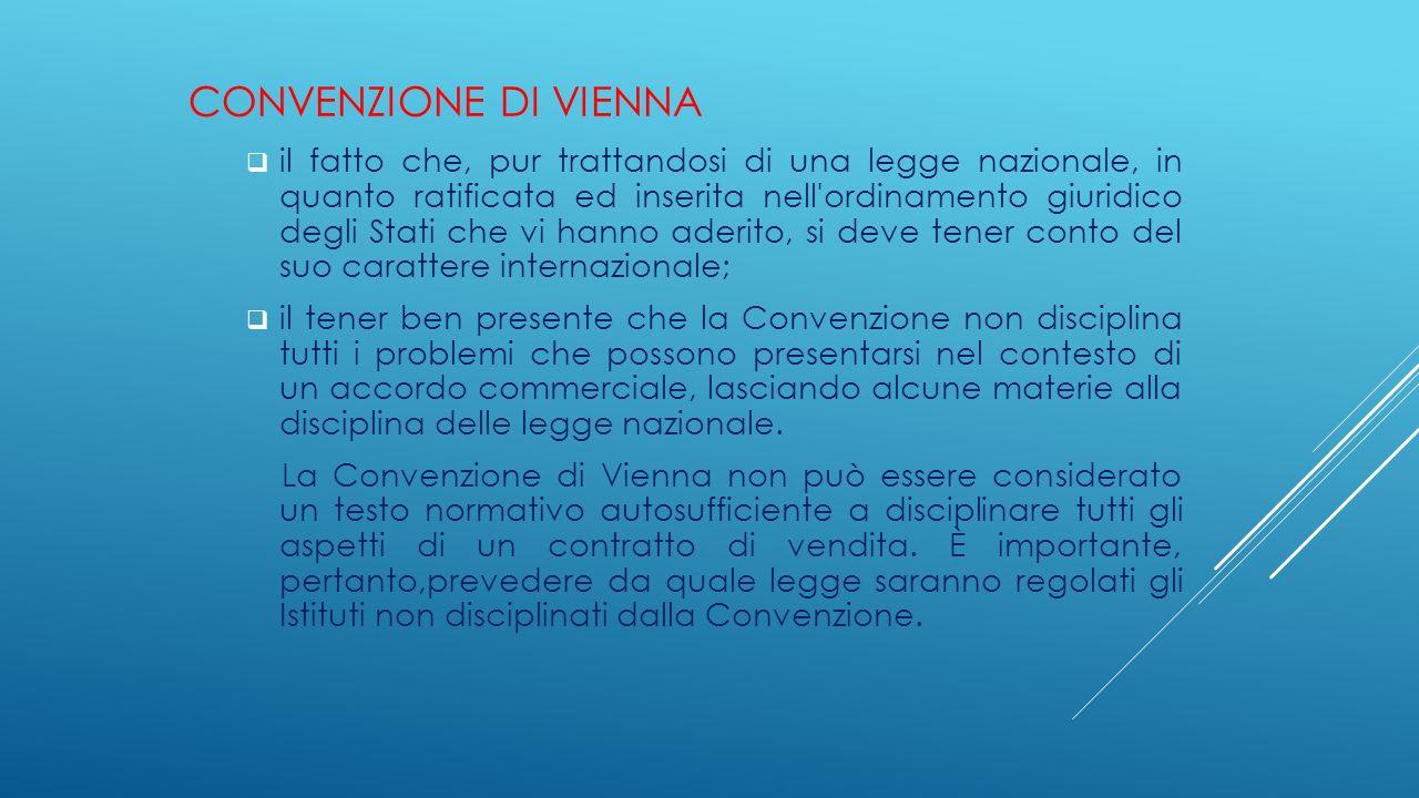 CONVENZIONE DI VIENNA  il fatto che, pur trattandosi di una legge nazionale, in quanto ratificata ed inserita nell'ordinamento giuridico degli Stati
