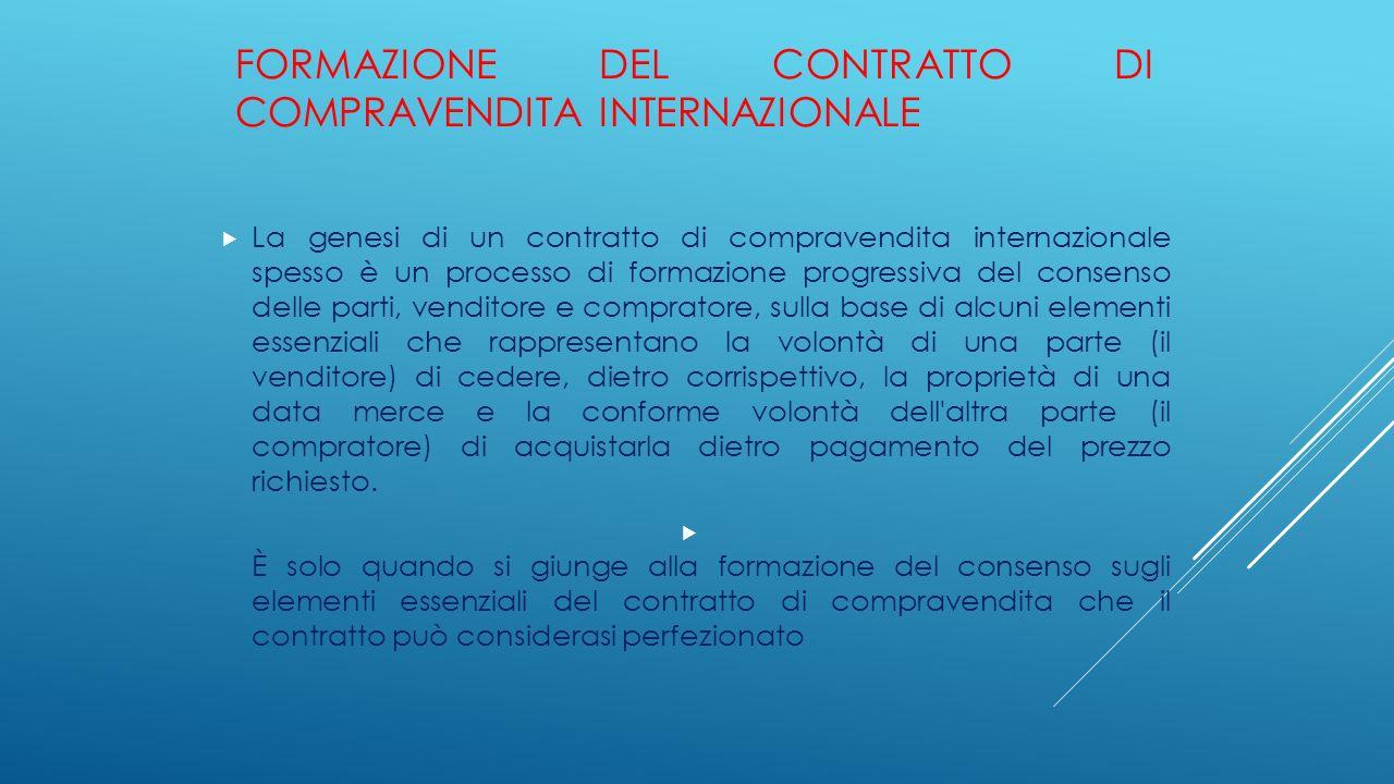 FORMAZIONE DEL CONTRATTO DI COMPRAVENDITA INTERNAZIONALE  La genesi di un contratto di compravendita internazionale spesso è un processo di formazion