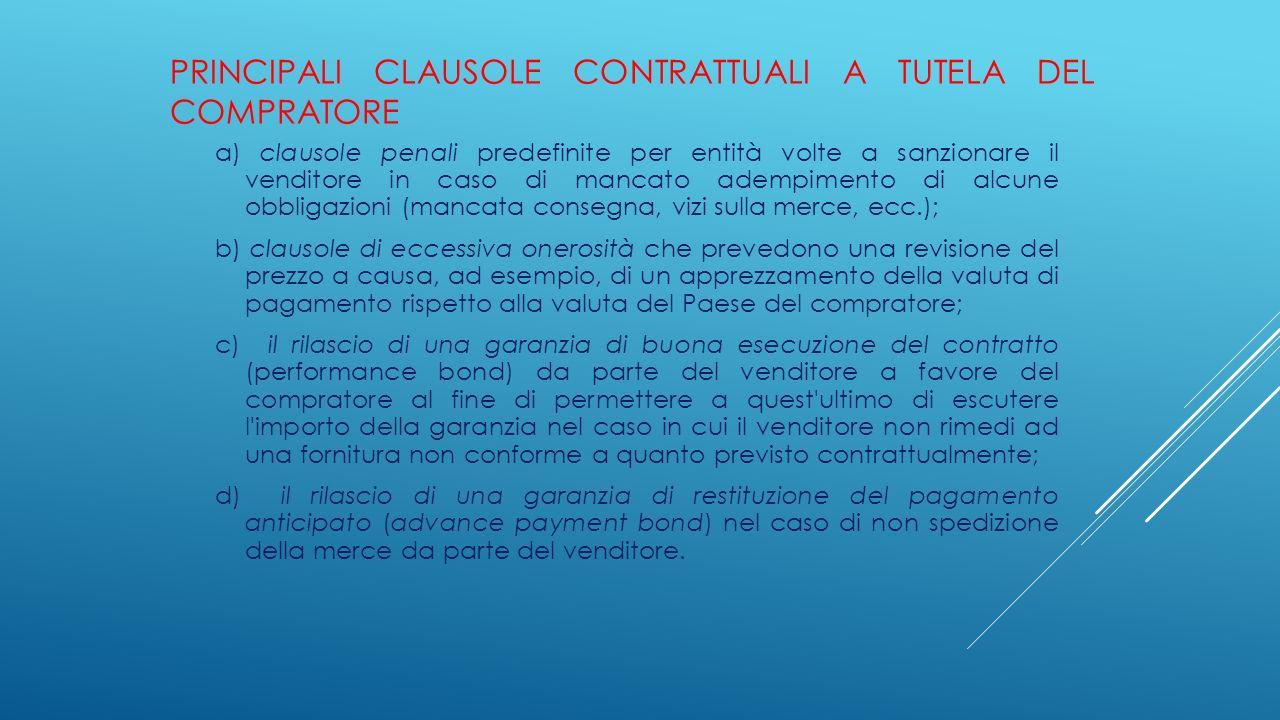 PRINCIPALI CLAUSOLE CONTRATTUALI A TUTELA DEL COMPRATORE a) clausole penali predefinite per entità volte a sanzionare il venditore in caso di mancato