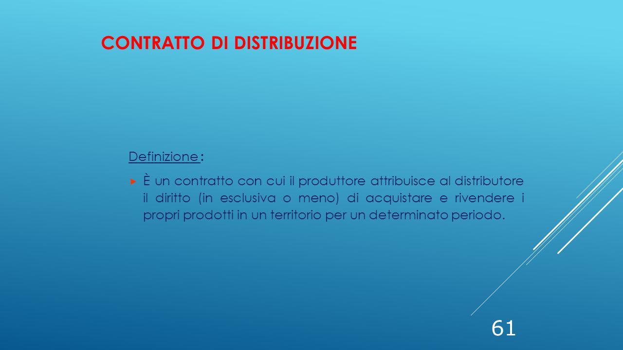 61 Definizione :  È un contratto con cui il produttore attribuisce al distributore il diritto (in esclusiva o meno) di acquistare e rivendere i propr