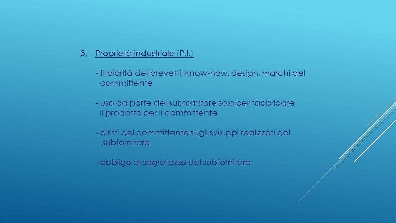 8.Proprietà industriale (P.I.) - titolarità dei brevetti, know-how, design, marchi del committente - uso da parte del subfornitore solo per fabbricare