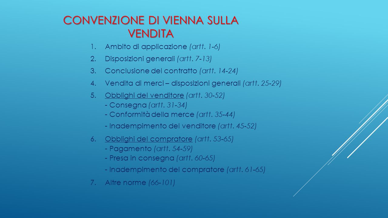 CONVENZIONE DI VIENNA SULLA VENDITA 1.Ambito di applicazione (artt. 1-6) 2.Disposizioni generali (artt. 7-13) 3.Conclusione del contratto (artt. 14-24