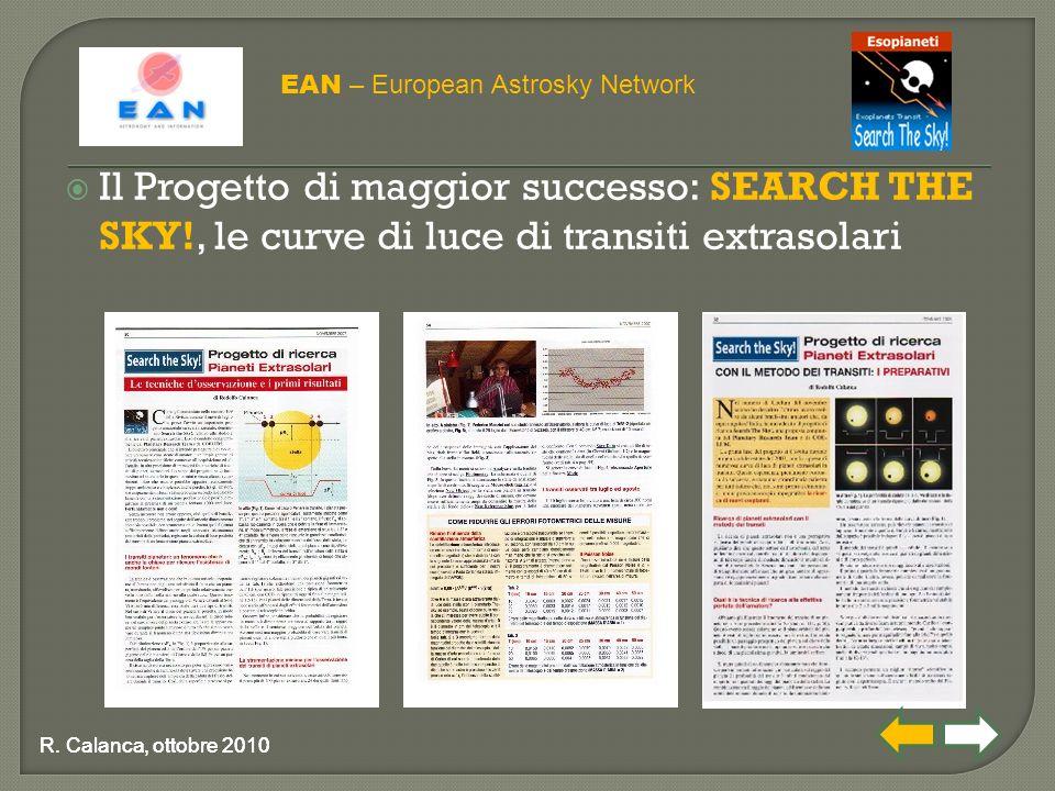  Il Progetto di maggior successo: SEARCH THE SKY!, le curve di luce di transiti extrasolari EAN – European Astrosky Network R. Calanca, ottobre 2010