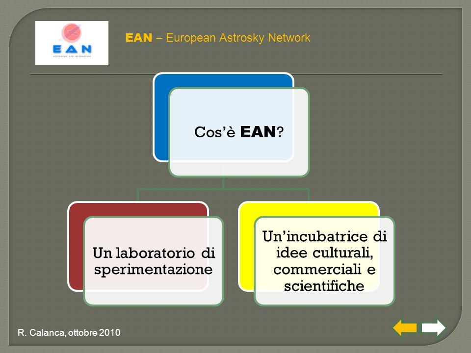 Cos'è EAN ? Un laboratorio di sperimentazione Un'incubatrice di idee culturali, commerciali e scientifiche EAN – European Astrosky Network R. Calanca,