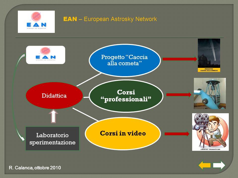 """Progetto """"Caccia alla cometa"""" Corsi """"professionali"""" Corsi in video EAN – European Astrosky Network R. Calanca, ottobre 2010 Didattica Laboratorio sper"""
