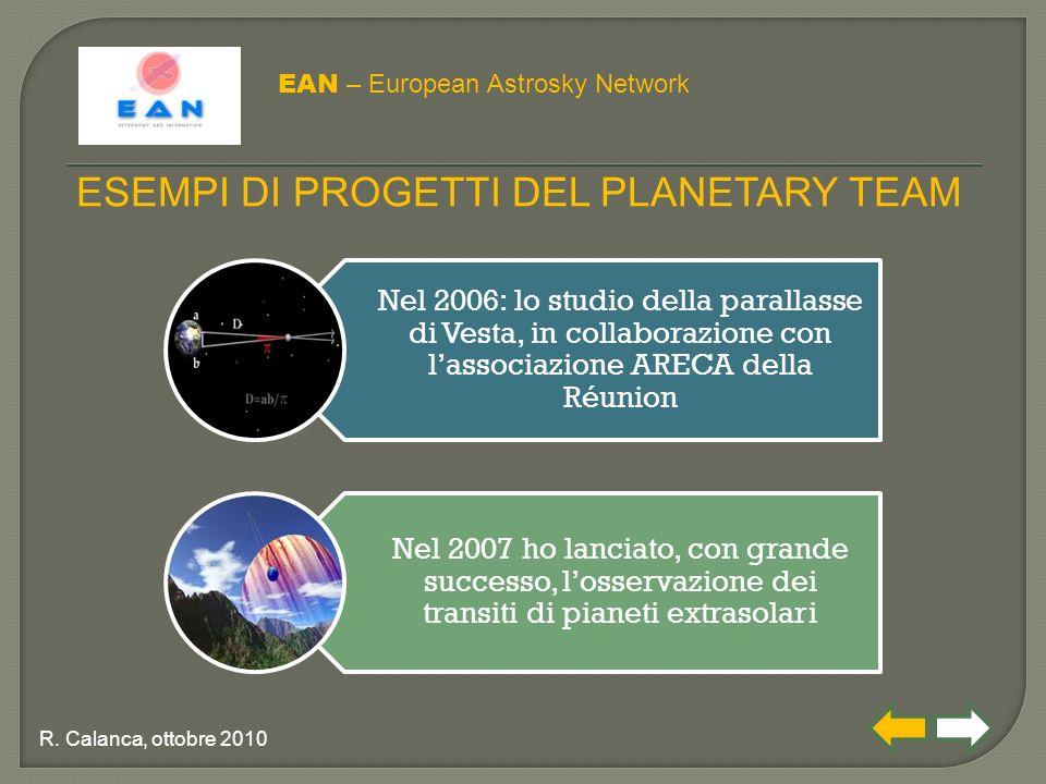 Nel 2006: lo studio della parallasse di Vesta, in collaborazione con l'associazione ARECA della Réunion Nel 2007 ho lanciato, con grande successo, l'osservazione dei transiti di pianeti extrasolari EAN – European Astrosky Network ESEMPI DI PROGETTI DEL PLANETARY TEAM R.