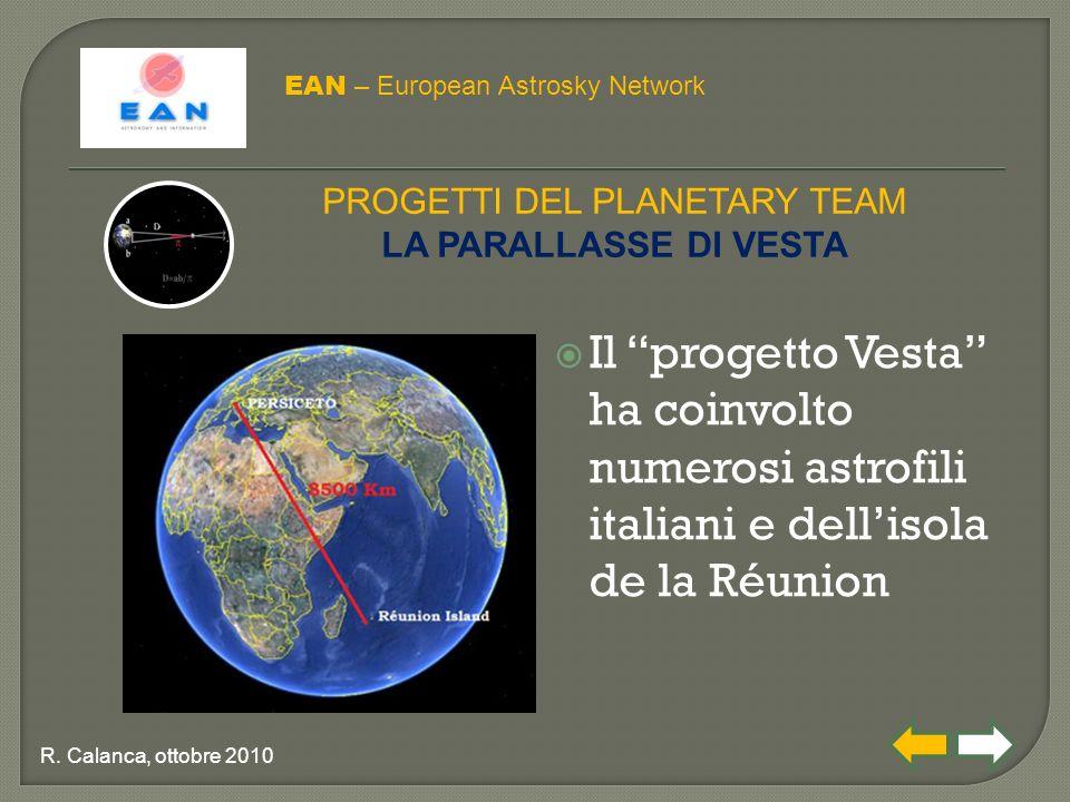  Il progetto Vesta ha coinvolto numerosi astrofili italiani e dell'isola de la Réunion EAN – European Astrosky Network PROGETTI DEL PLANETARY TEAM LA PARALLASSE DI VESTA R.