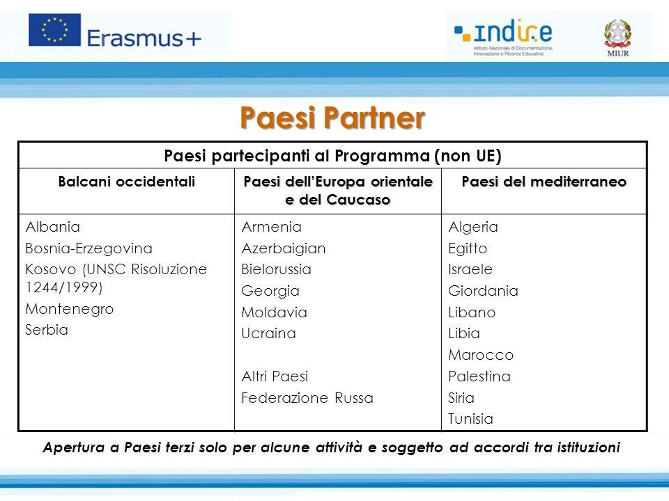 Paesi Partner Paesi partecipanti al Programma (non UE) Balcani occidentali Paesi dell'Europa orientale e del Caucaso Paesi del mediterraneo Albania Bo