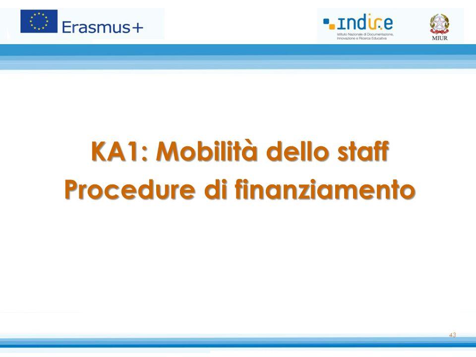KA1: Mobilità dello staff Procedure di finanziamento 43