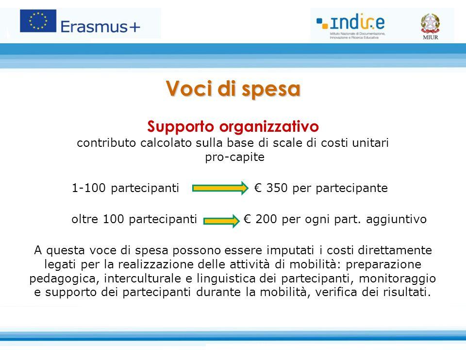 Voci di spesa Supporto organizzativo contributo calcolato sulla base di scale di costi unitari pro-capite 1-100 partecipanti € 350 per partecipante oltre 100 partecipanti € 200 per ogni part.