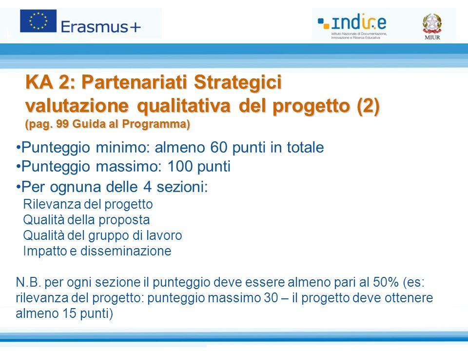 KA 2: Partenariati Strategici valutazione qualitativa del progetto (2) (pag. 99 Guida al Programma) Punteggio minimo: almeno 60 punti in totale Punteg