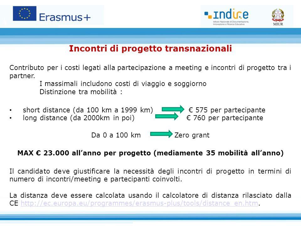 Incontri di progetto transnazionali Contributo per i costi legati alla partecipazione a meeting e incontri di progetto tra i partner. I massimali incl