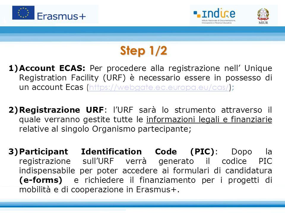 Step 1/2 1)Account ECAS: Per procedere alla registrazione nell' Unique Registration Facility (URF) è necessario essere in possesso di un account Ecas (https://webgate.ec.europa.eu/cas/);https://webgate.ec.europa.eu/cas/ 2)Registrazione URF: l'URF sarà lo strumento attraverso il quale verranno gestite tutte le informazioni legali e finanziarie relative al singolo Organismo partecipante; 3)Participant Identification Code (PIC): Dopo la registrazione sull'URF verrà generato il codice PIC indispensabile per poter accedere ai formulari di candidatura (e-forms) e richiedere il finanziamento per i progetti di mobilità e di cooperazione in Erasmus+.