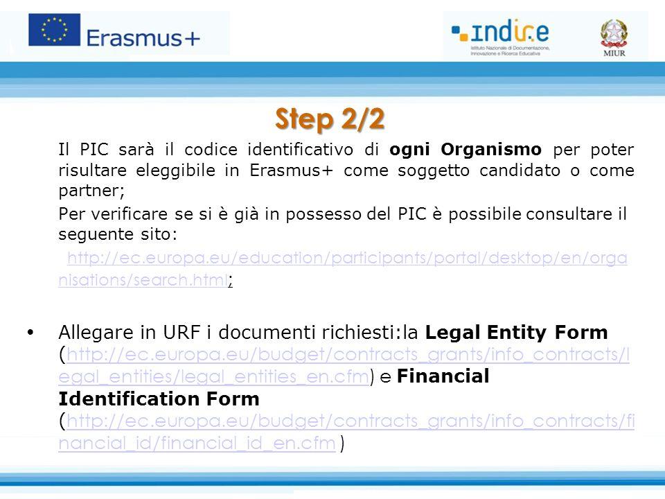 Step 2/2 Il PIC sarà il codice identificativo di ogni Organismo per poter risultare eleggibile in Erasmus+ come soggetto candidato o come partner; Per