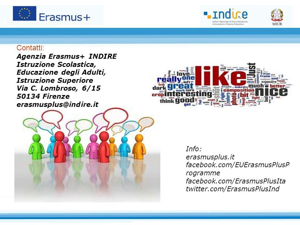 Contatti: Agenzia Erasmus+ INDIRE Istruzione Scolastica, Educazione degli Adulti, Istruzione Superiore Via C.