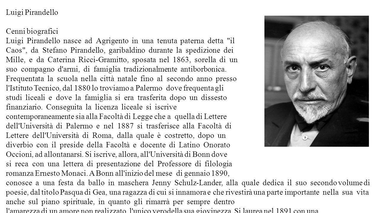 Luigi Pirandello Cenni biografici Luigi Pirandello nasce ad Agrigento in una tenuta paterna detta