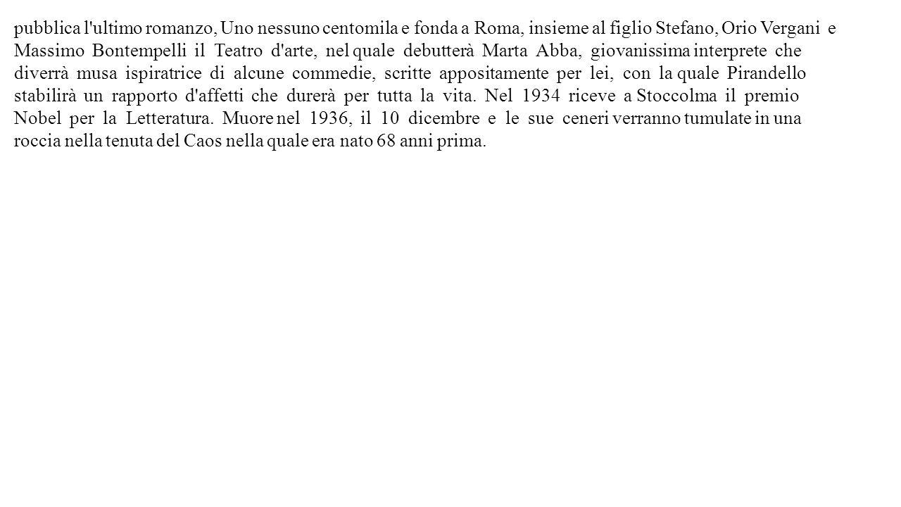 pubblica l'ultimo romanzo, Uno nessuno centomila e fonda a Roma, insieme al figlio Stefano, Orio Vergani e Massimo Bontempelli il Teatro d'arte, nel q