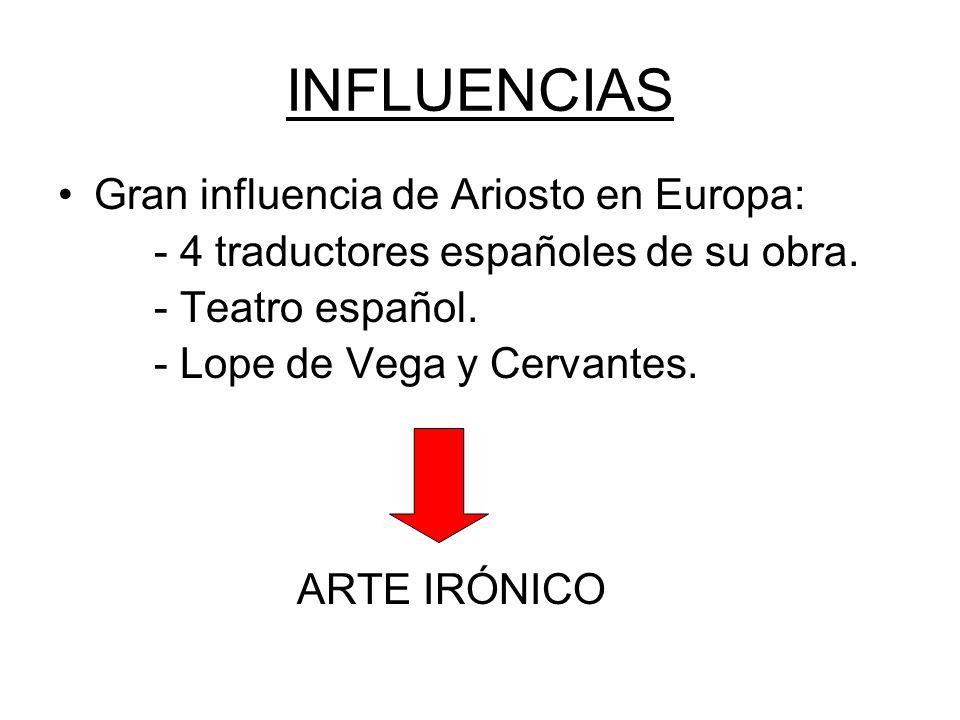INFLUENCIAS Gran influencia de Ariosto en Europa: - 4 traductores españoles de su obra.