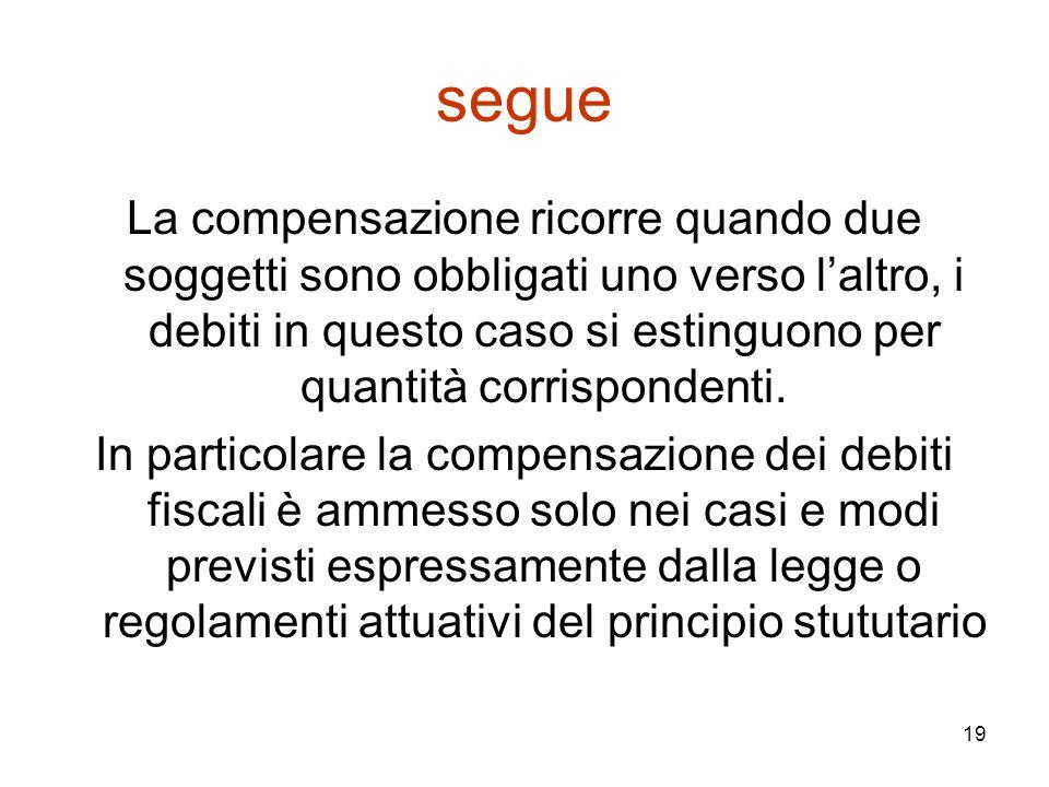 19 segue La compensazione ricorre quando due soggetti sono obbligati uno verso l'altro, i debiti in questo caso si estinguono per quantità corrisponde
