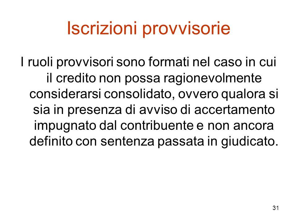 31 Iscrizioni provvisorie I ruoli provvisori sono formati nel caso in cui il credito non possa ragionevolmente considerarsi consolidato, ovvero qualor