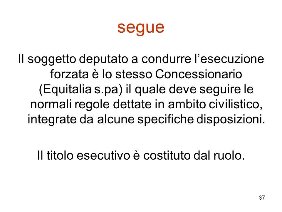 37 segue Il soggetto deputato a condurre l'esecuzione forzata è lo stesso Concessionario (Equitalia s.pa) il quale deve seguire le normali regole dett