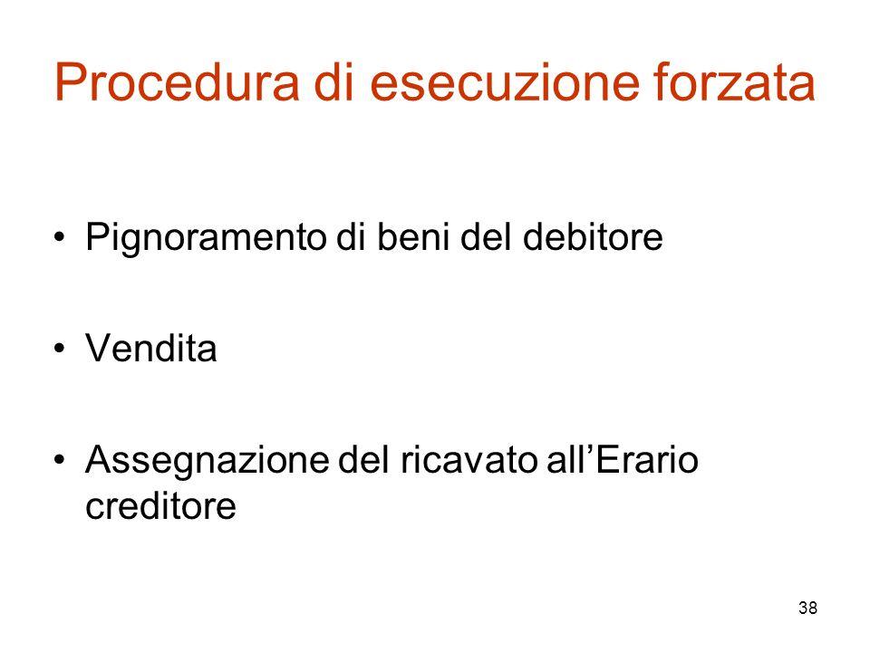 38 Procedura di esecuzione forzata Pignoramento di beni del debitore Vendita Assegnazione del ricavato all'Erario creditore