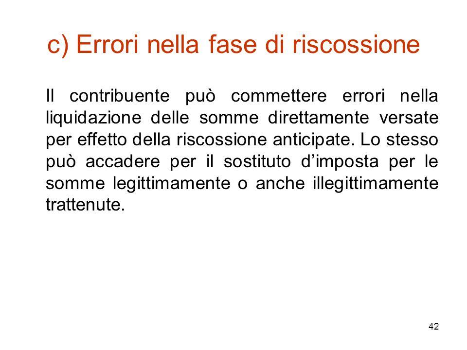 42 c) Errori nella fase di riscossione Il contribuente può commettere errori nella liquidazione delle somme direttamente versate per effetto della ris