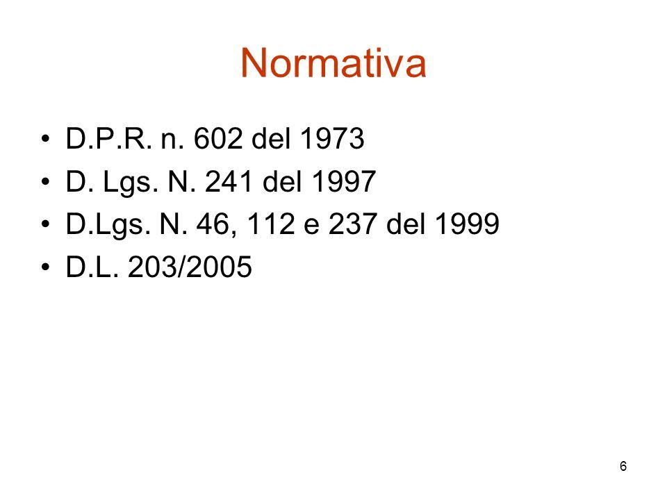 6 Normativa D.P.R. n. 602 del 1973 D. Lgs. N. 241 del 1997 D.Lgs. N. 46, 112 e 237 del 1999 D.L. 203/2005