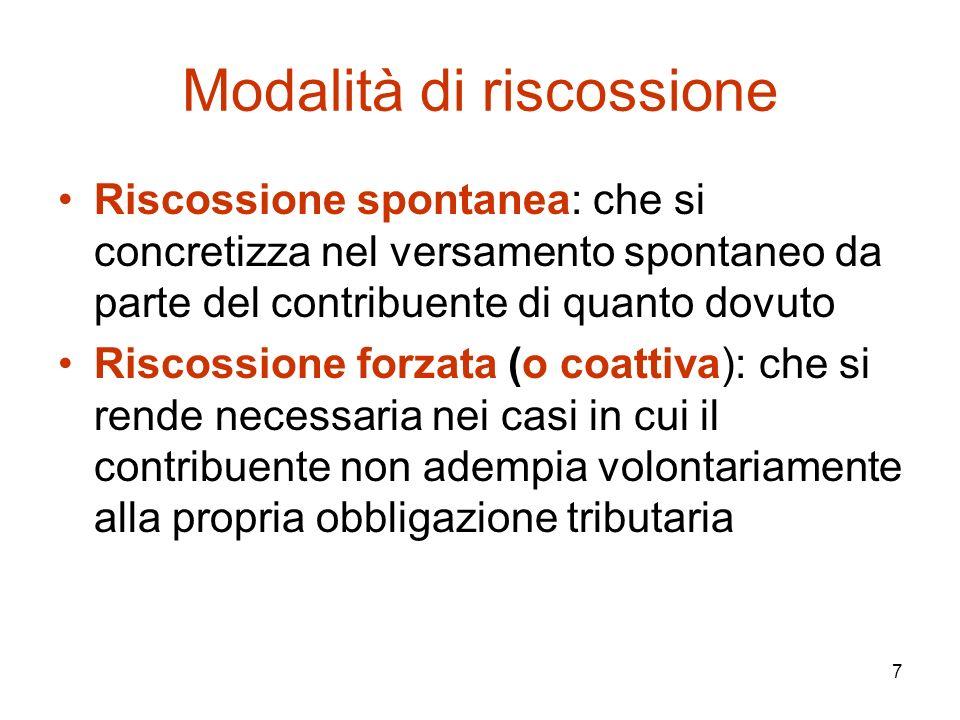 7 Modalità di riscossione Riscossione spontanea: che si concretizza nel versamento spontaneo da parte del contribuente di quanto dovuto Riscossione fo