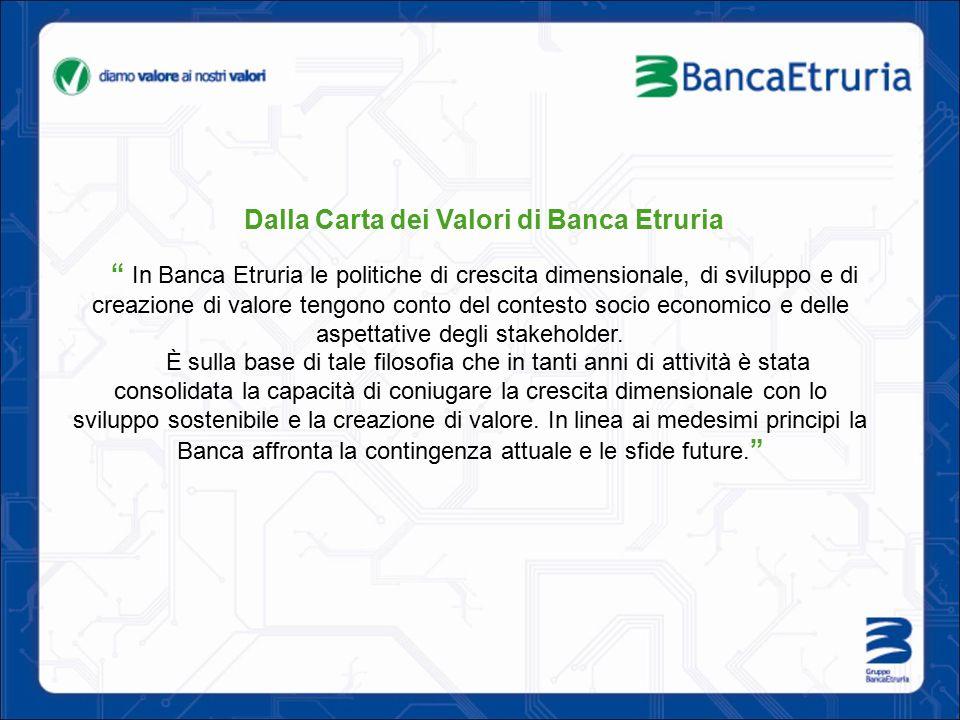 Dalla Carta dei Valori di Banca Etruria In Banca Etruria le politiche di crescita dimensionale, di sviluppo e di creazione di valore tengono conto del contesto socio economico e delle aspettative degli stakeholder.