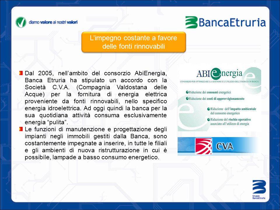 Dal 2005, nell'ambito del consorzio AbiEnergia, Banca Etruria ha stipulato un accordo con la Società C.V.A. (Compagnia Valdostana delle Acque) per la