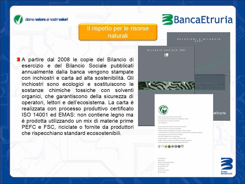A partire dal 2008 le copie del Bilancio di esercizio e del Bilancio Sociale pubblicati annualmente dalla banca vengono stampate con inchiostri e cart