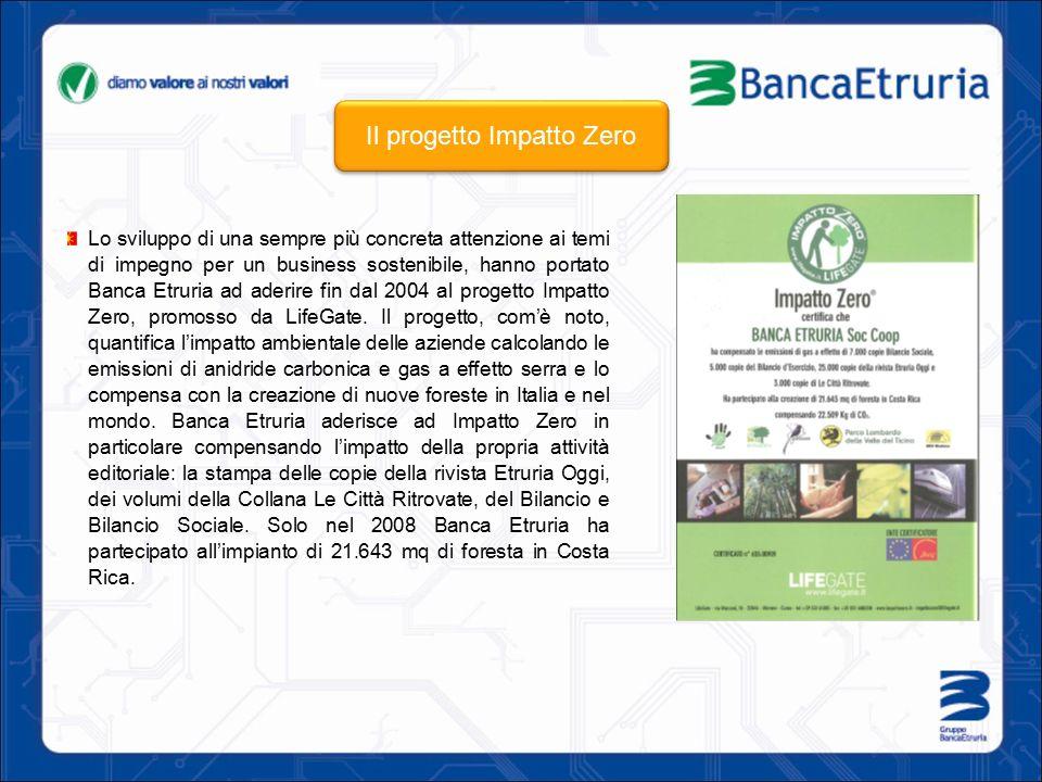 Lo sviluppo di una sempre più concreta attenzione ai temi di impegno per un business sostenibile, hanno portato Banca Etruria ad aderire fin dal 2004 al progetto Impatto Zero, promosso da LifeGate.