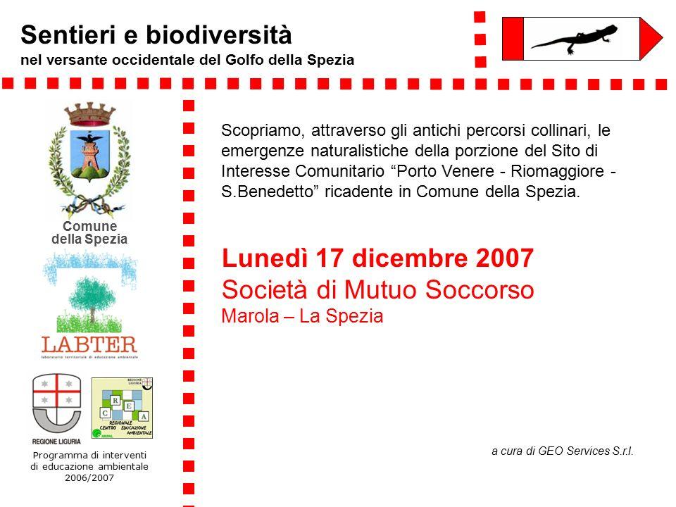 Sentieri e biodiversità Il Progetto Sentieri del Golfo del Comune della Spezia: partito nel contesto dell'Agenda 21 locale sviluppatosi attraverso un Gruppo di Lavoro di cittadini ed associazioni quindi supportato da un Coordinamento Interassessorile