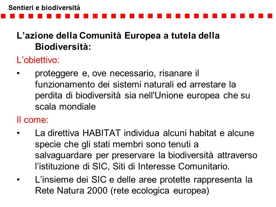 Sentieri e biodiversità L'azione della Comunità Europea a tutela della Biodiversità: L'obiettivo: proteggere e, ove necessario, risanare il funzioname