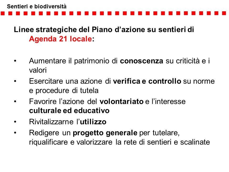 Sentieri e biodiversità Linee strategiche del Piano d'azione su sentieri di Agenda 21 locale: Aumentare il patrimonio di conoscenza su criticità e i v