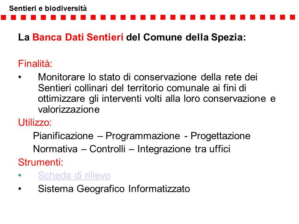 Sentieri e biodiversità La Banca Dati Sentieri del Comune della Spezia: Finalità: Monitorare lo stato di conservazione della rete dei Sentieri collina