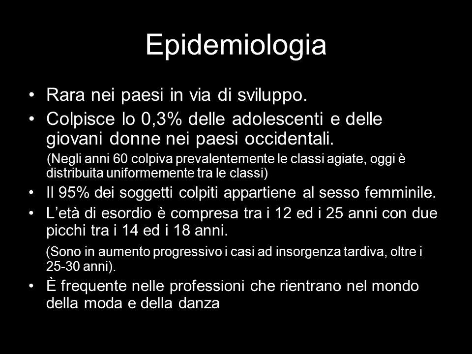 Epidemiologia Rara nei paesi in via di sviluppo. Colpisce lo 0,3% delle adolescenti e delle giovani donne nei paesi occidentali. (Negli anni 60 colpiv