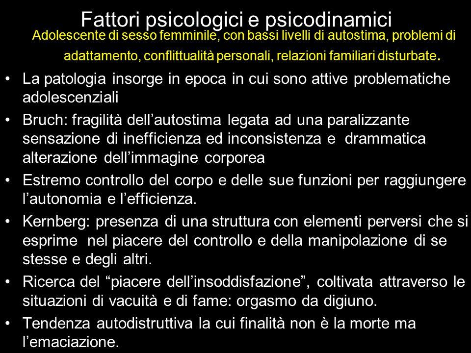 Fattori psicologici e psicodinamici Adolescente di sesso femminile, con bassi livelli di autostima, problemi di adattamento, conflittualità personali,