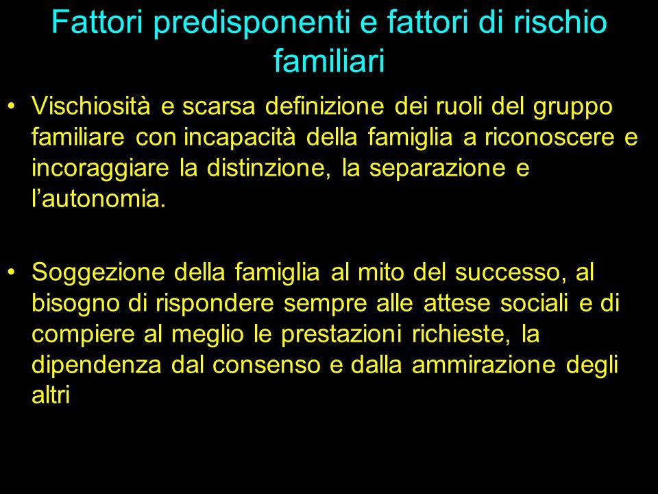 Fattori predisponenti e fattori di rischio familiari Vischiosità e scarsa definizione dei ruoli del gruppo familiare con incapacità della famiglia a r