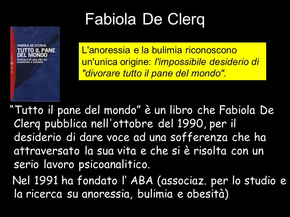 """Fabiola De Clerq """"Tutto il pane del mondo"""" è un libro che Fabiola De Clerq pubblica nell'ottobre del 1990, per il desiderio di dare voce ad una soffer"""