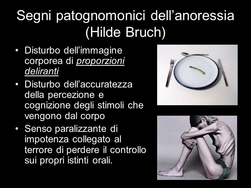 Segni patognomonici dell'anoressia (Hilde Bruch) Disturbo dell'immagine corporea di proporzioni deliranti Disturbo dell'accuratezza della percezione e