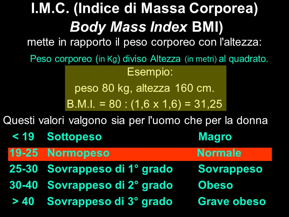 I.M.C. (Indice di Massa Corporea) Body Mass Index BMI) mette in rapporto il peso corporeo con l'altezza: Peso corporeo ( in Kg ) diviso Altezza (in me