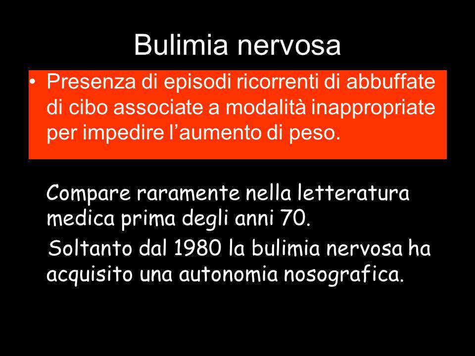 Bulimia nervosa Presenza di episodi ricorrenti di abbuffate di cibo associate a modalità inappropriate per impedire l'aumento di peso. Compare raramen